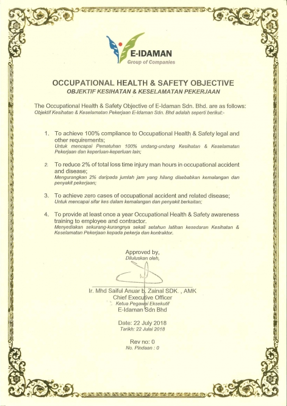 Occupational Health And Safety Objective