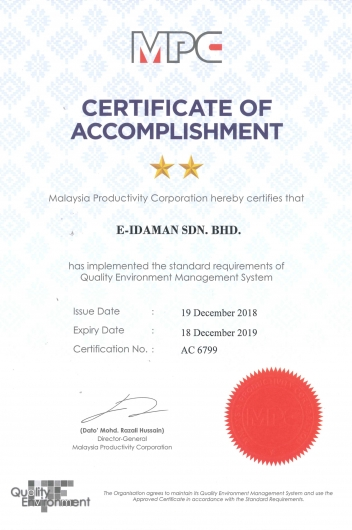 Certificate of Accomplishment of Quality Environment Management System